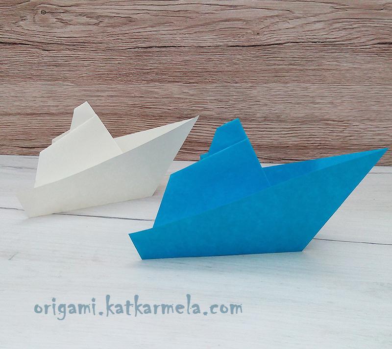 оригами кораблик с трубой