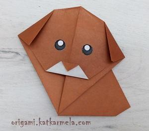 Как сделать из бумаги щенка оригами