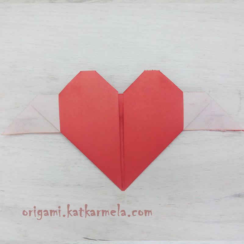 оригами сердце с крыльми